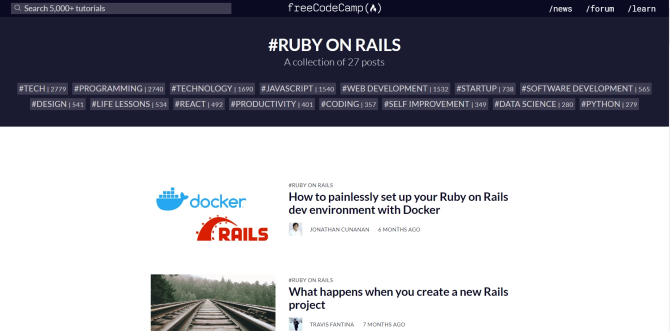 Free Ruby on Rails tutorials at FreeCodeCamp