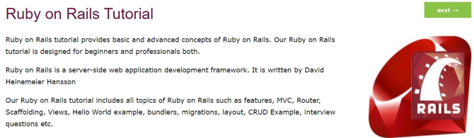 Free Ruby on Rails tutorials at JavaTPoint