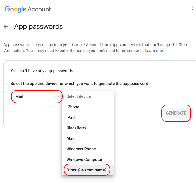 Create App Password