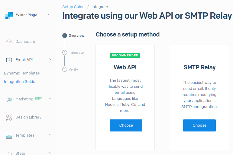 SendGrid SMTP relay integration