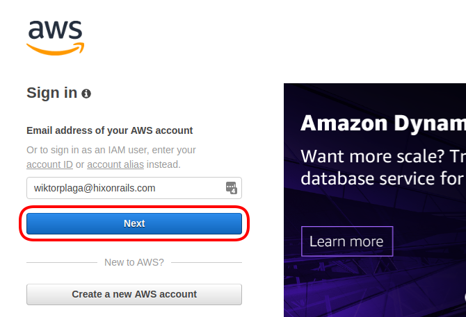 Sign in to AWS Management Console