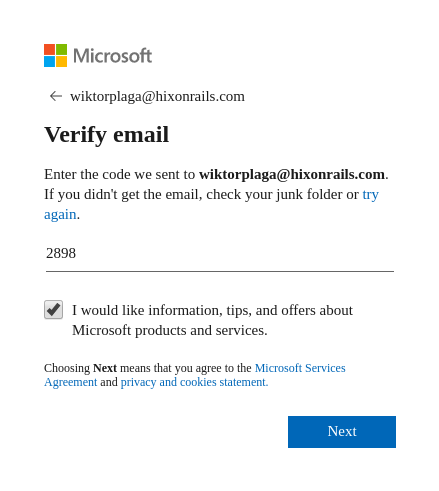 Verify the account email