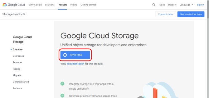 Try Google Cloud Storage for free