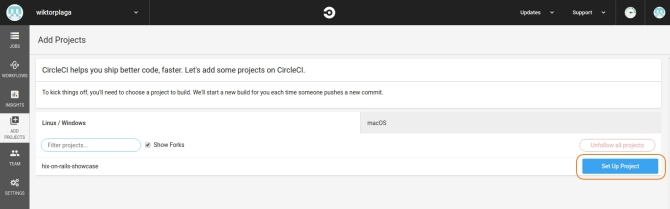 Setup project in the CircleCI dashboard