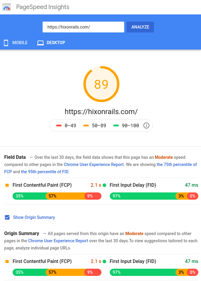 PageSpeed Insights Chrome User Experience Report