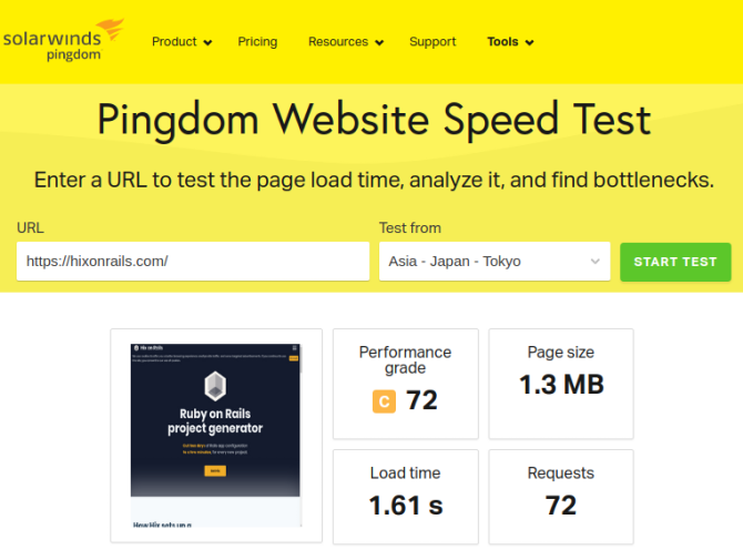 Pingdom Website Speed Test Results
