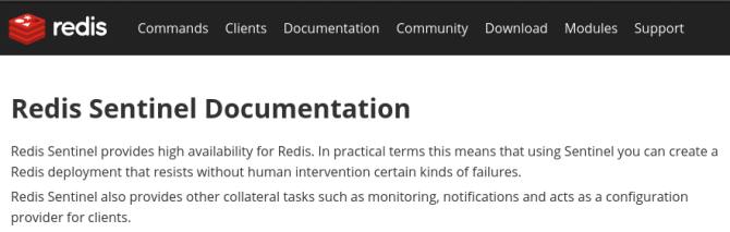 Official Redis Sentinel documentation intro