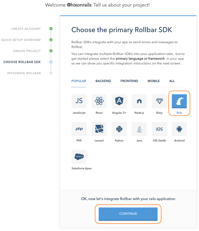 Step 2: Select Ruby on Rails project SDK