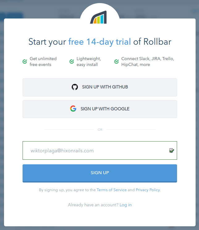 Rollbar sign up form