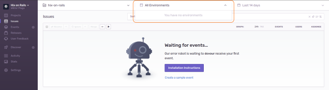 Sentry filtering by environments