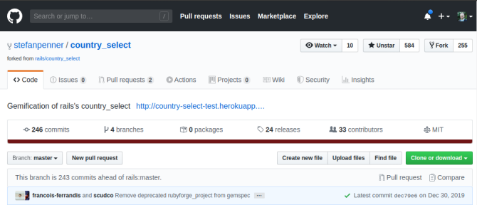Ruby on Rails forked Country Select repository