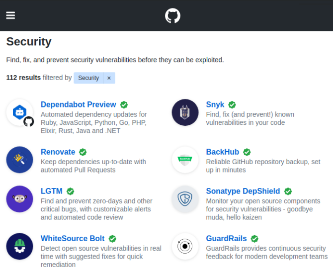 GitHub Marketplace Security Solutions
