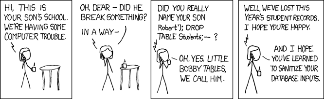 XKCD SQL Injection Classic Exploits of a Mom
